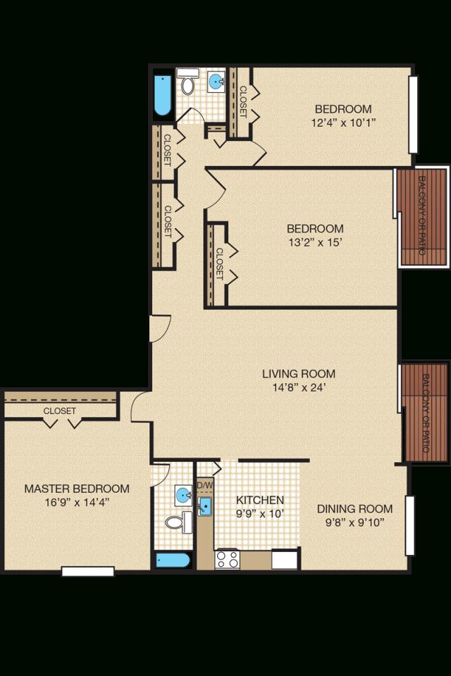 Three-Bedroom Apartment & Townhome Floor Plans | Portabello regarding Three Bedroom Apartment