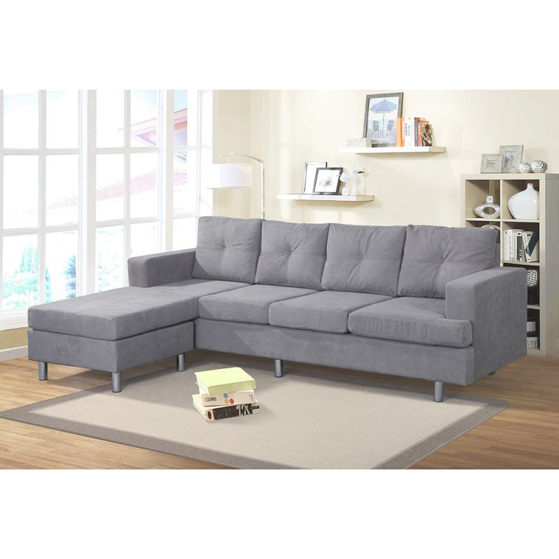 Top Knobs 2 Piece Sectional Sofa Couch Microfiber With Reversible Chaise For Living Room Furniture within Elegant 2 Piece Sectional With Chaise