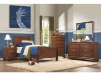 Traditional Brown Cherry 4 Piece Twin Bedroom Set – Mayville with Luxury Twin Bedroom Furniture Set
