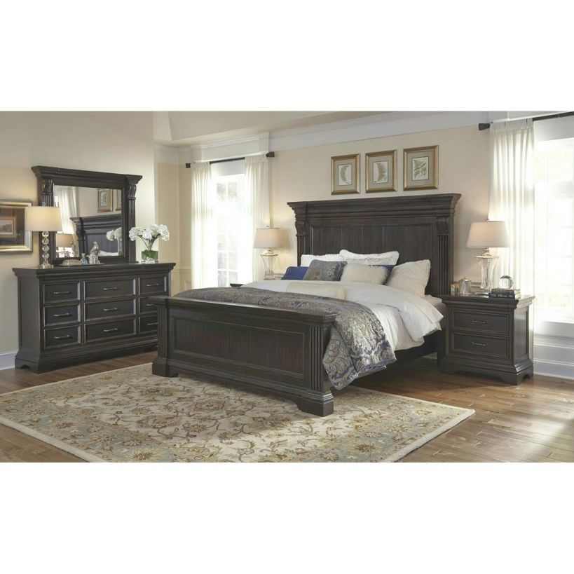 Traditional Dark Brown 4 Piece King Bedroom Set - Caldwell intended for Luxury Bedroom Sets King