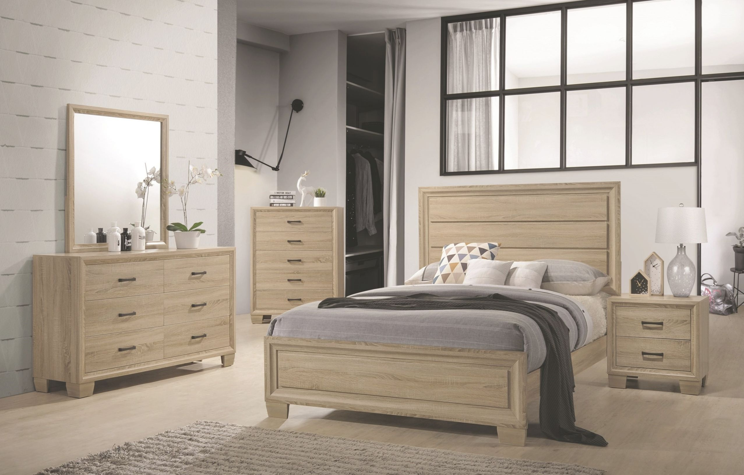 Transitional Modern Unique Panel Queen Size Bed 4Pc Set Dresser Mirror  Nightstand Wooden Bedroom Furniture inside Beautiful Queen Size Bedroom Furniture Sets