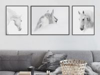 Triptych White Horse Head Photo Pictures For Living Room Home Decoration Wall Art Canvas Paintings Nordic Modern Posters Prints regarding Horse Living Room Decor
