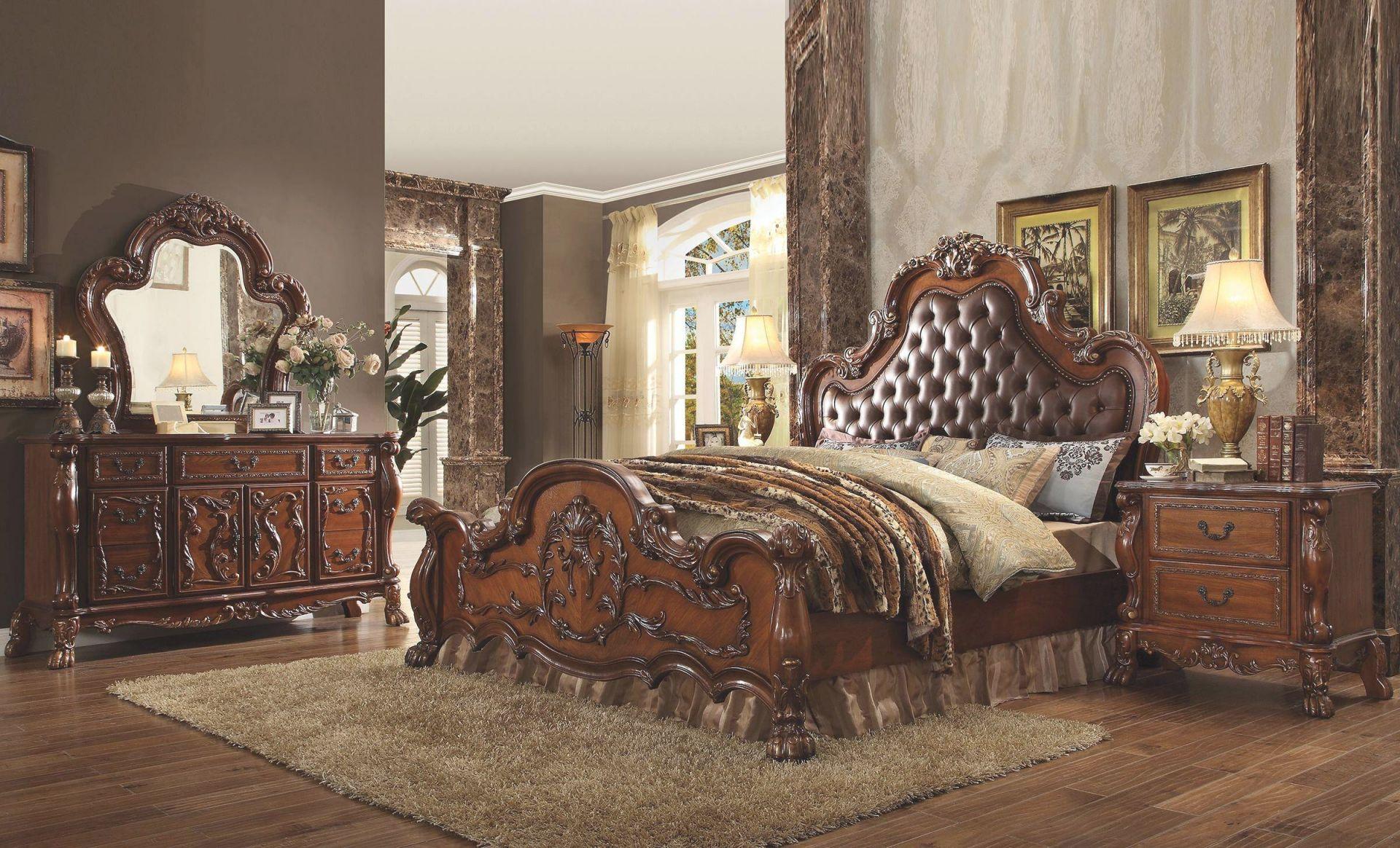 Tufted Cherry Oak King Bedroom Set 4Pcs Dresden 23137Ek Acme within Luxury Oak Bedroom Furniture Sets