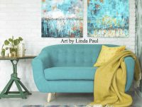 Turquoise Abstract Art Paintings with Turquoise Living Room Furniture