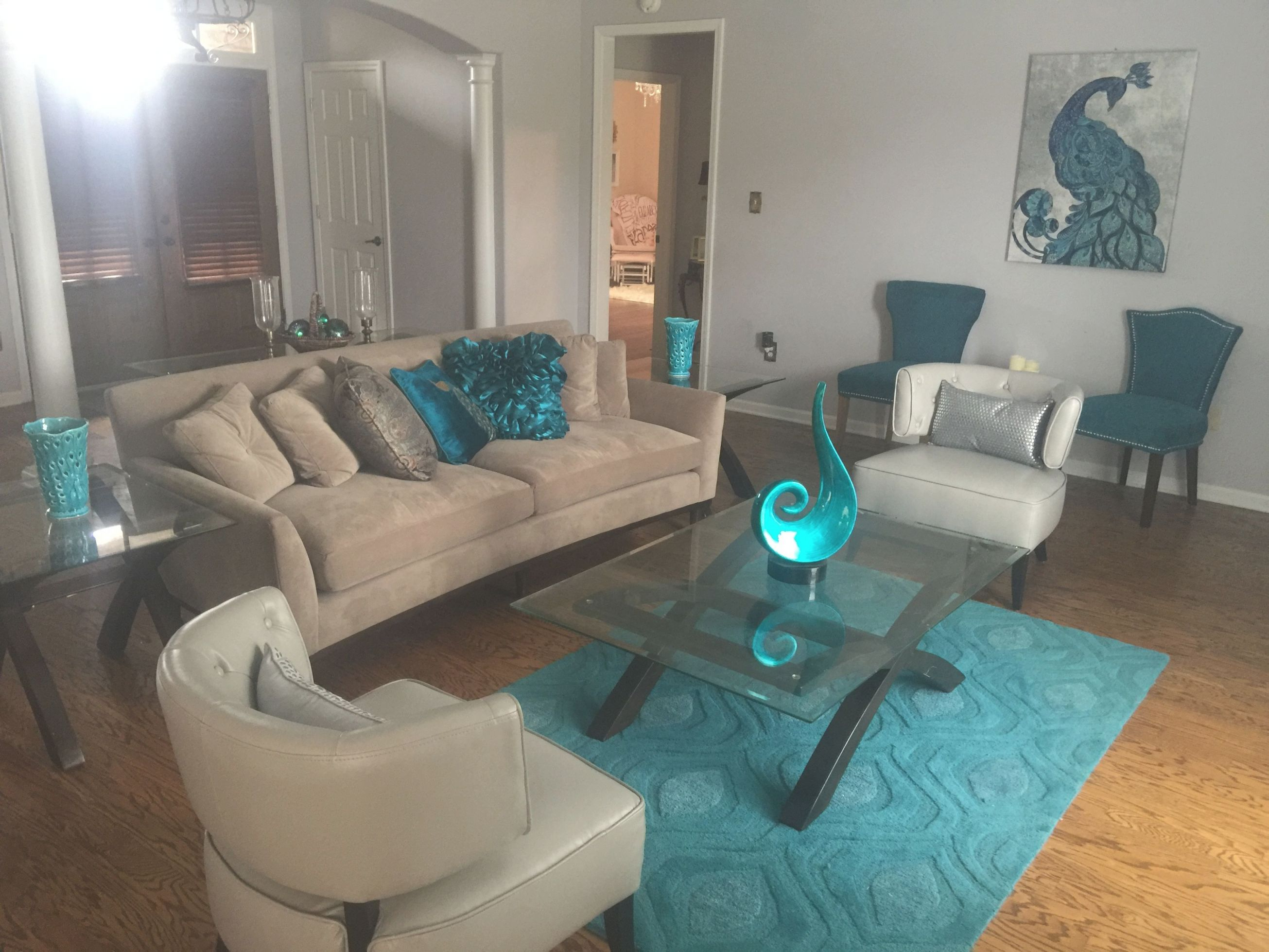 Turquoise Teal Peacock Contemporary Modern Living Room Inside