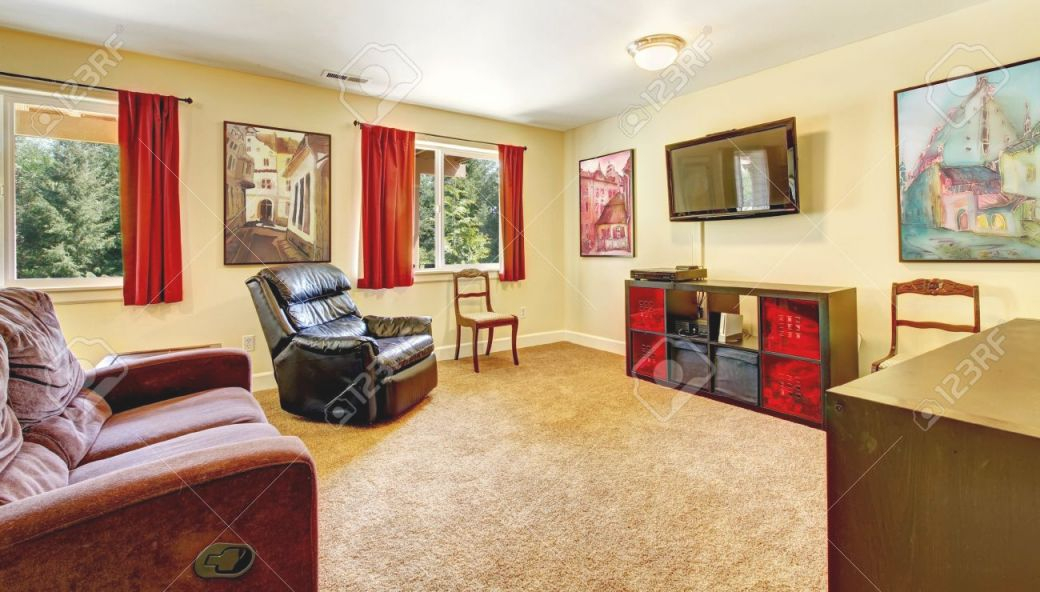 Tv Living Room With Art And Red Curtains And Beige Carpet With.. regarding Curtains For Living Room With Brown Furniture