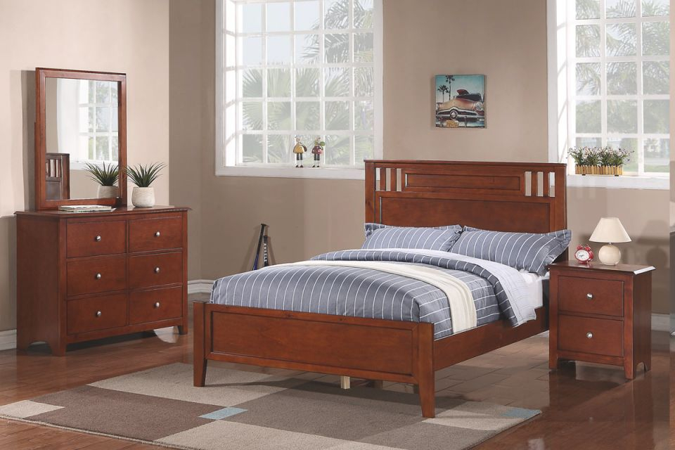 Twin Wood Bed F9047T Color Medium Oak intended for Luxury Full Size Bedroom Furniture Sets