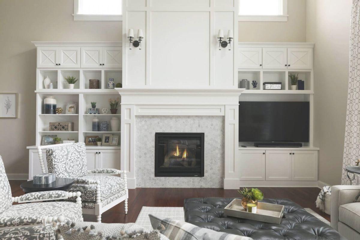 Two Story Woodbury Living Room Fireplace Design | Ispiri ...