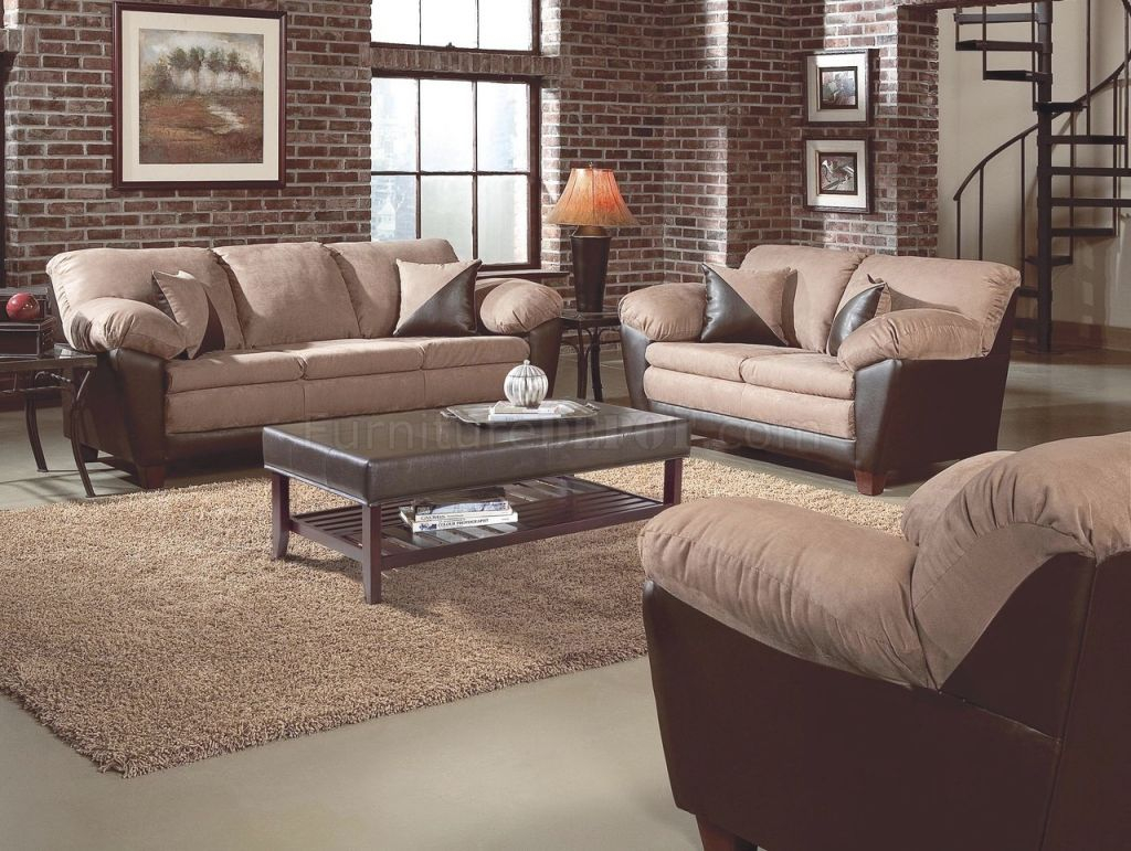 Two-Tone Mocha Transitional Living Room W/pillow Top Seating pertaining to Best of Transitional Living Room Furniture
