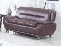 Ufe Norton Dark Brown Faux Leather Modern Living Room Sofa throughout Living Room Furnitures