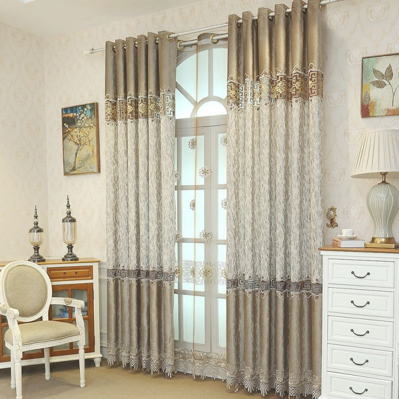 Us $17.13 50% Off|Chinese Retro Geometric Embroidered Splicing Lace Brown Blackout Curtains For Living Room Window-In Curtains From Home & Garden On inside Best of Curtains For Living Room With Brown Furniture