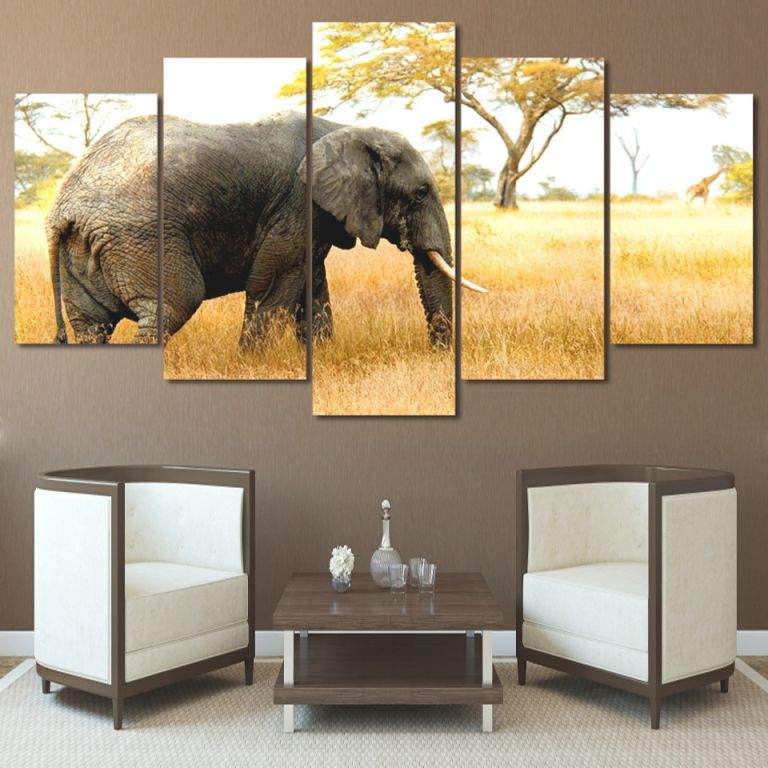 Us $5.81 40% Off|For Living Room Modern Hd Printed Decor Framework 5 Panel Africa Elephants Animal Wall Art Home Canvas Painting Poster Pictures-In with Best of African Decor Living Room
