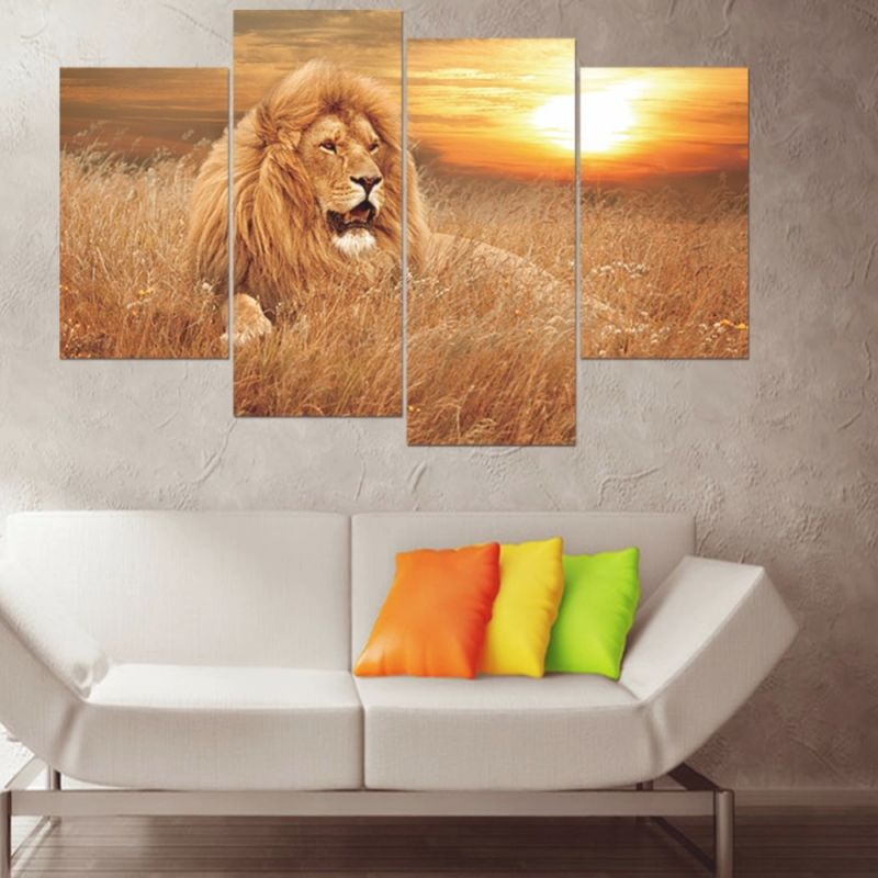 Us $9.48 27% Off|4Pcs/set 3D African Lion Combination Wall Stickers Home Decor Living Room Wall Decals Self Adhesive Diy Art Mural Animal Poster-In throughout African Decor Living Room