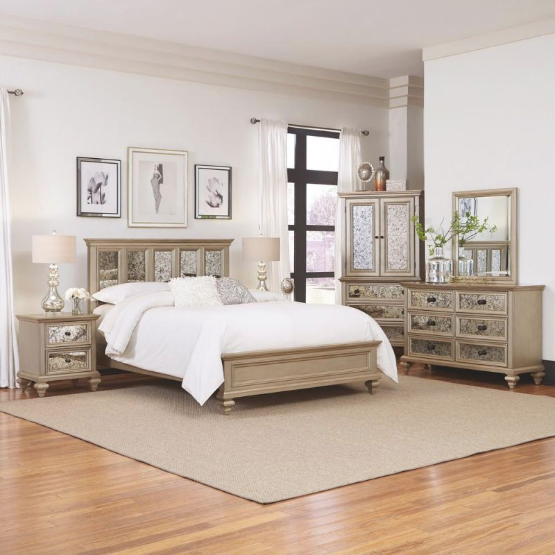 Visions Silver Gold Champagne Queen Bed Frame intended for Awesome Cheap Queen Bedroom Furniture Sets