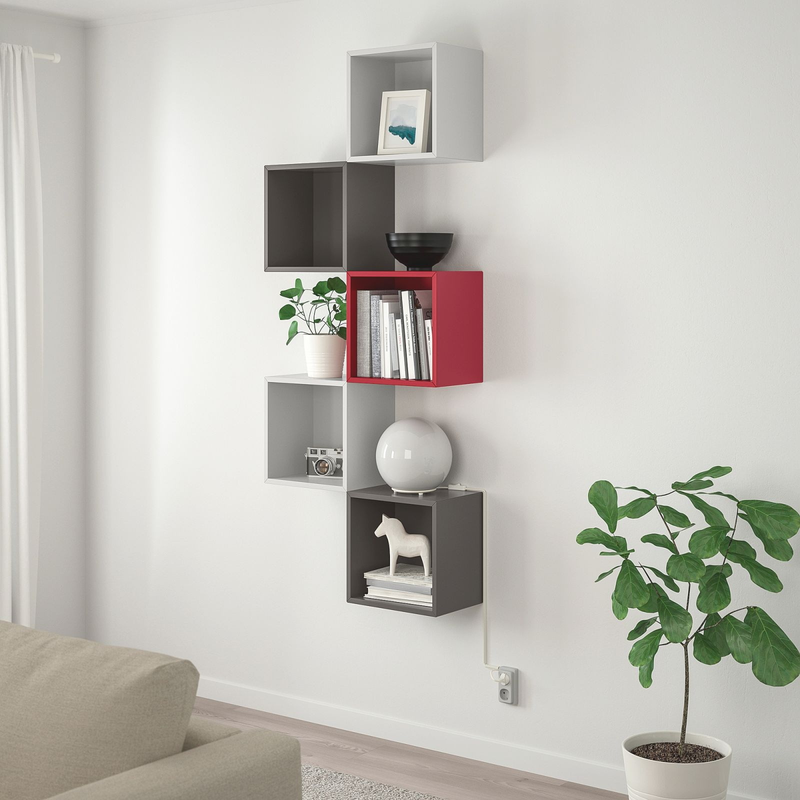 Wall-Mounted Storage Combination Eket Light Gray/dark Gray, Red for Ikea Wall Cabinets Living Room