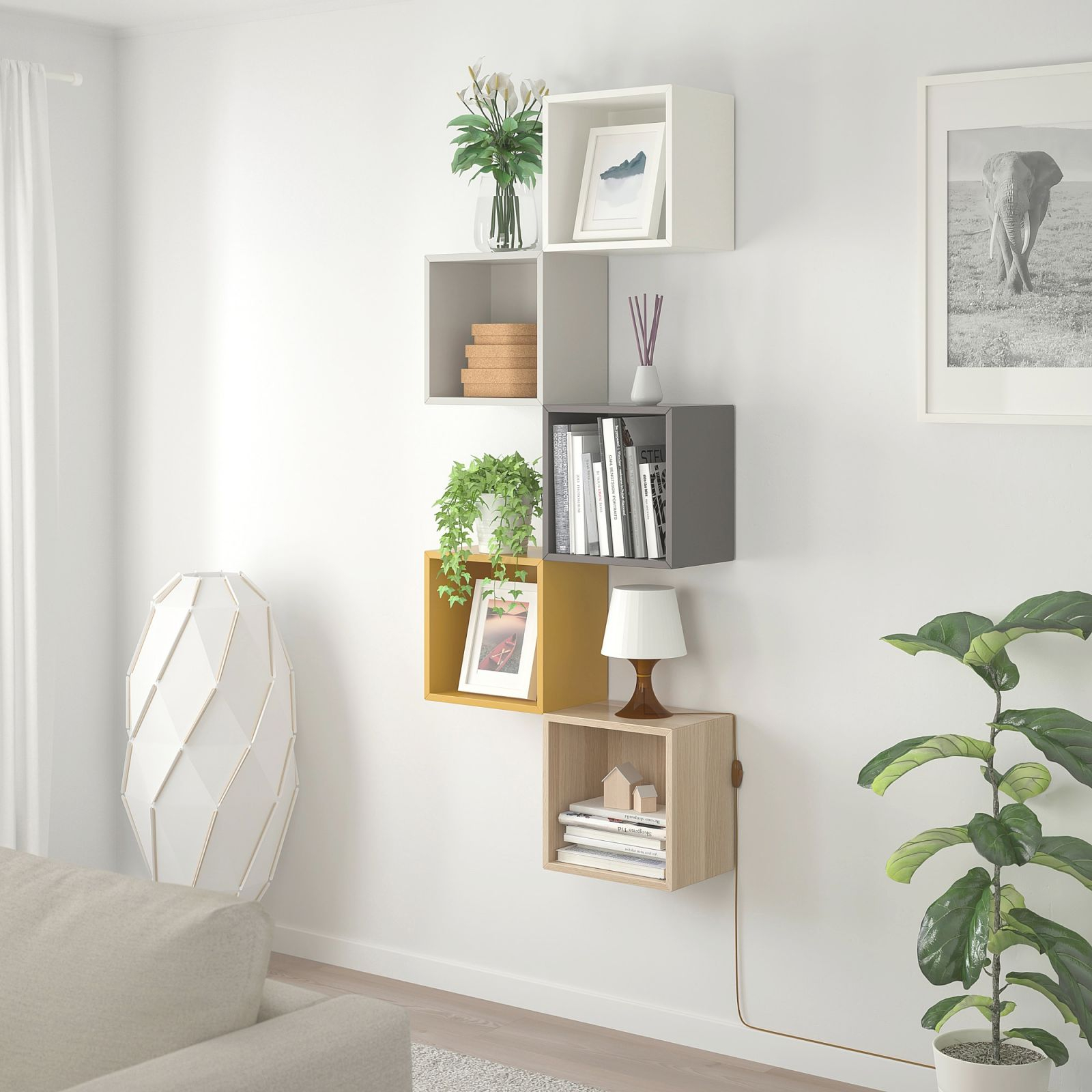 Wall-Mounted Storage Combination Eket Multicolor 1 intended for Ikea Wall Cabinets Living Room