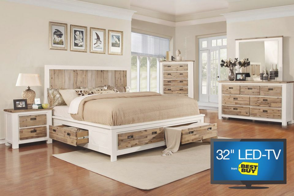 """Western Queen Storage Bedroom Set With 32"""" Tv within Awesome Cheap Queen Bedroom Furniture Sets"""