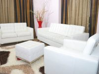 White Full Leather 3Pc Living Room Set W/free Ottoman for White Living Room Furniture Sets