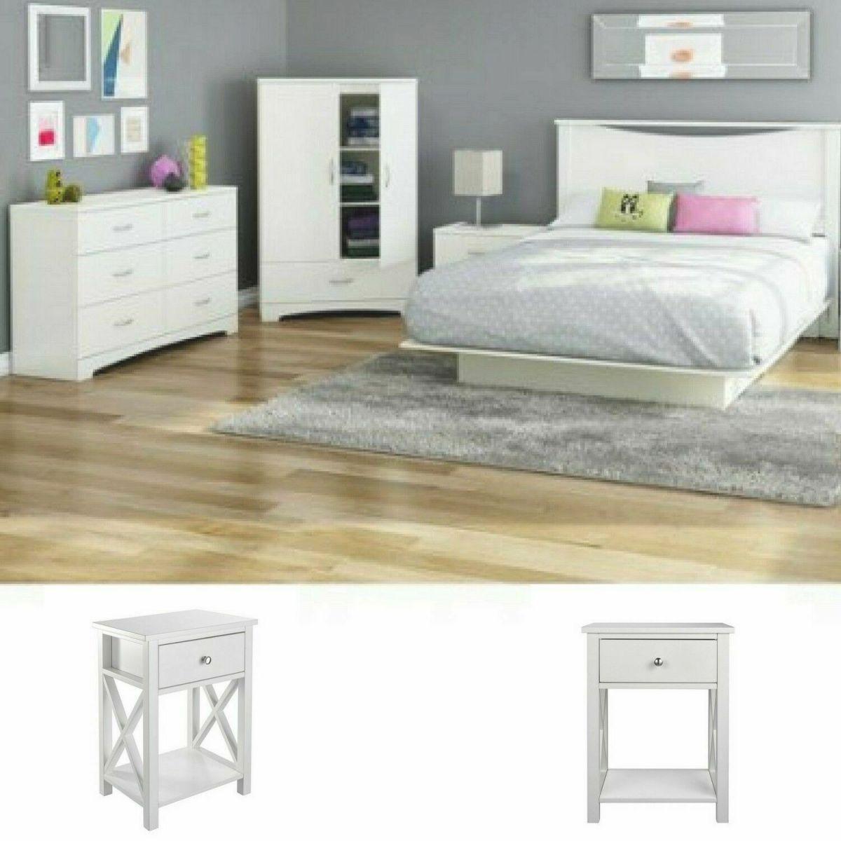 White Full Size Bedroom Set 2 Nightstands Modern Design Furniture Platform Bed with regard to Luxury Full Size Bedroom Furniture Sets