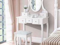 White Vanity Dressing Table Set With Mirror Stool 5 Drawers Makeup Desk Bedroom in Oak Bedroom Furniture Sets
