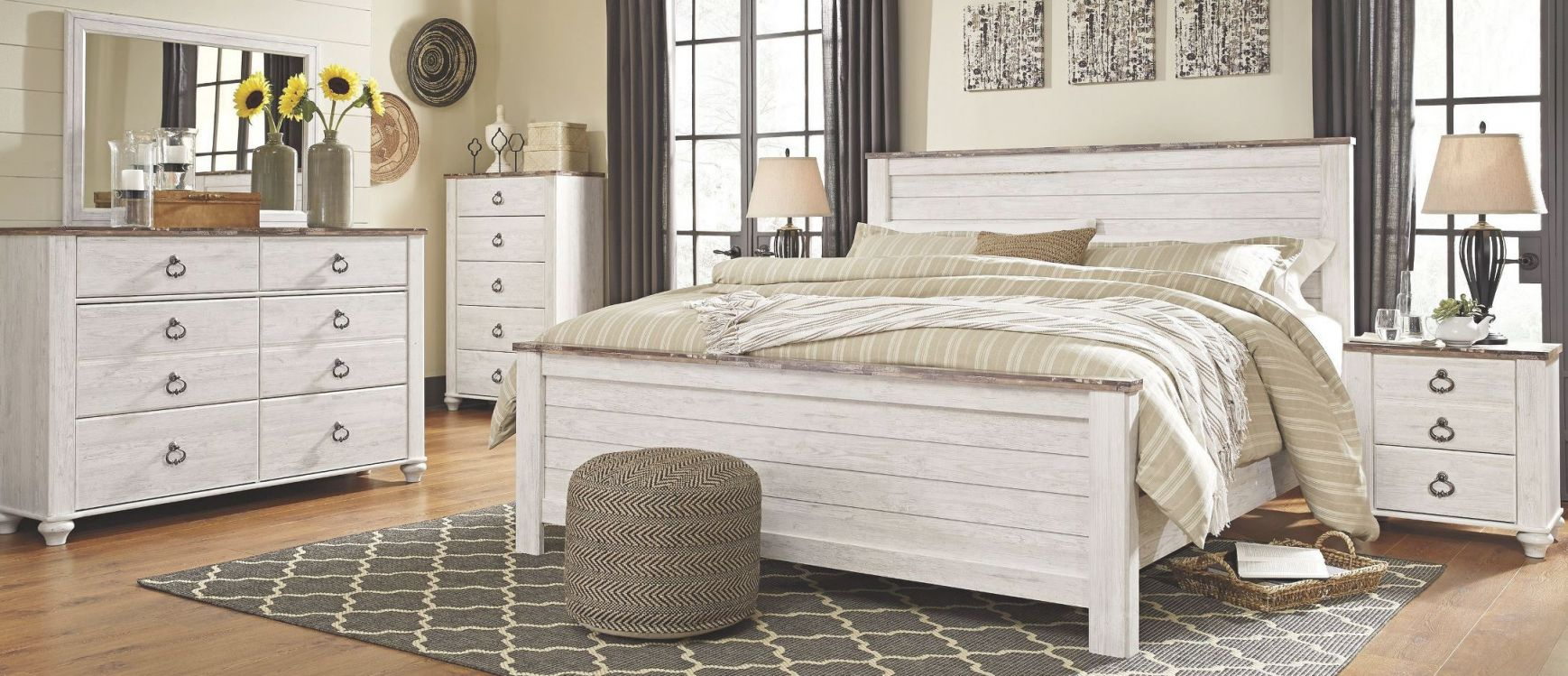 Willowton Whitewash Panel Bedroom Set in Cheap White Bedroom Furniture Sets