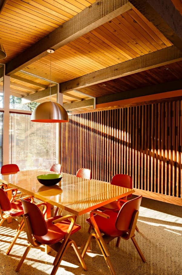Mesmerizing dining room design with plastic chairs and steel lamp over the table along with zoning woden lattice
