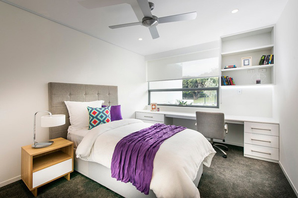 Purple and grey color to accentuate the bedroom
