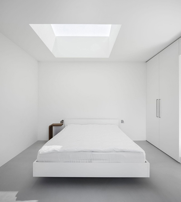 White walls and floating bed