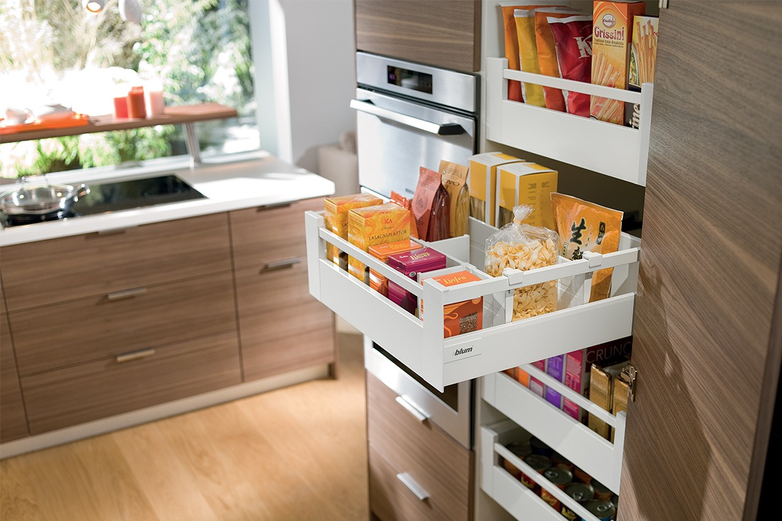 Organizing Kitchen Storage Systems and Pantry for Ultimate Comfort. Open plastic shelves for flour products