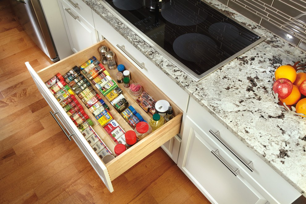 Organizing Kitchen Storage Systems and Pantry for Ultimate Comfort. Wide wooden box for spices