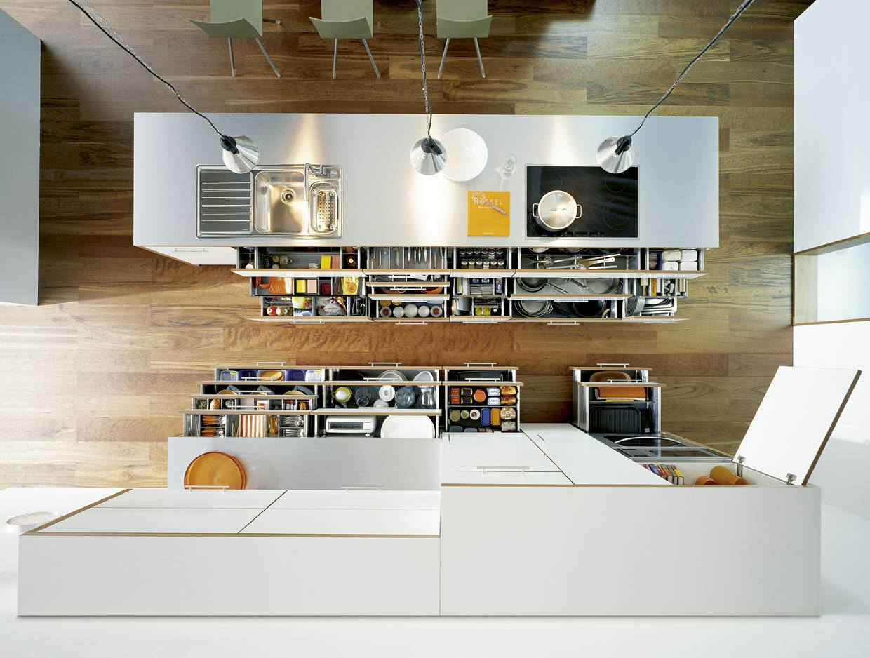Top view of the kitchen with well organized storage systems