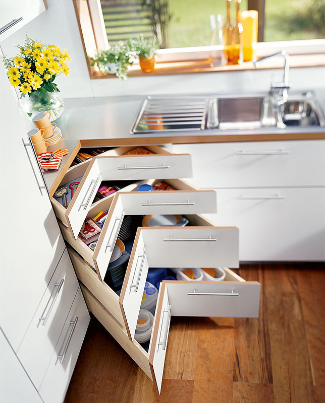 Organizing Kitchen Storage Systems and Pantry for Ultimate Comfort. Originally designed angular drawers