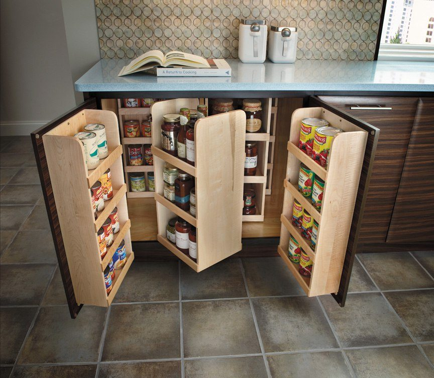 Great idea of swivel drawers with built-in shelving for multiple products