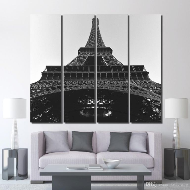 2019 Canvas The Eiffel Tower Black And White Wall Art Posters And Prints Wall Decorations Living Room /up 1352D From Kittyfang, $35.13 | Dhgate intended for Lovely Eiffel Tower Living Room Decor