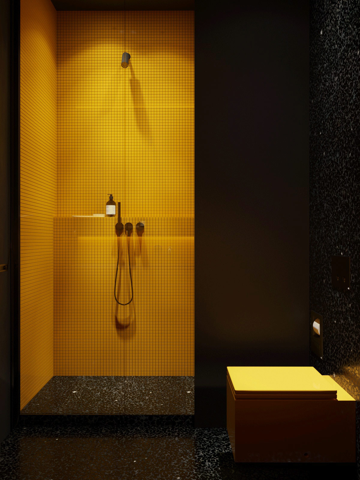black-and-yellow-bathroom