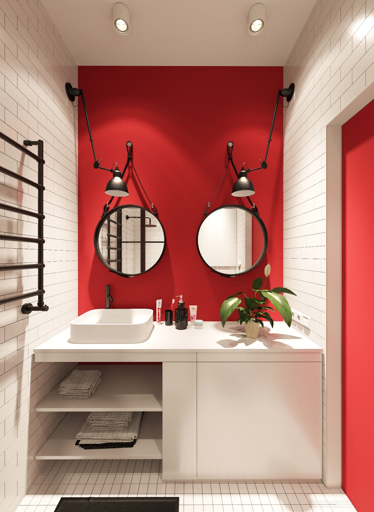 black red and white bathroom   Awesome Decors