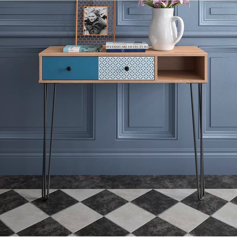 colorful-retro-entryway-table-with-drawers-and-hairpin-legs