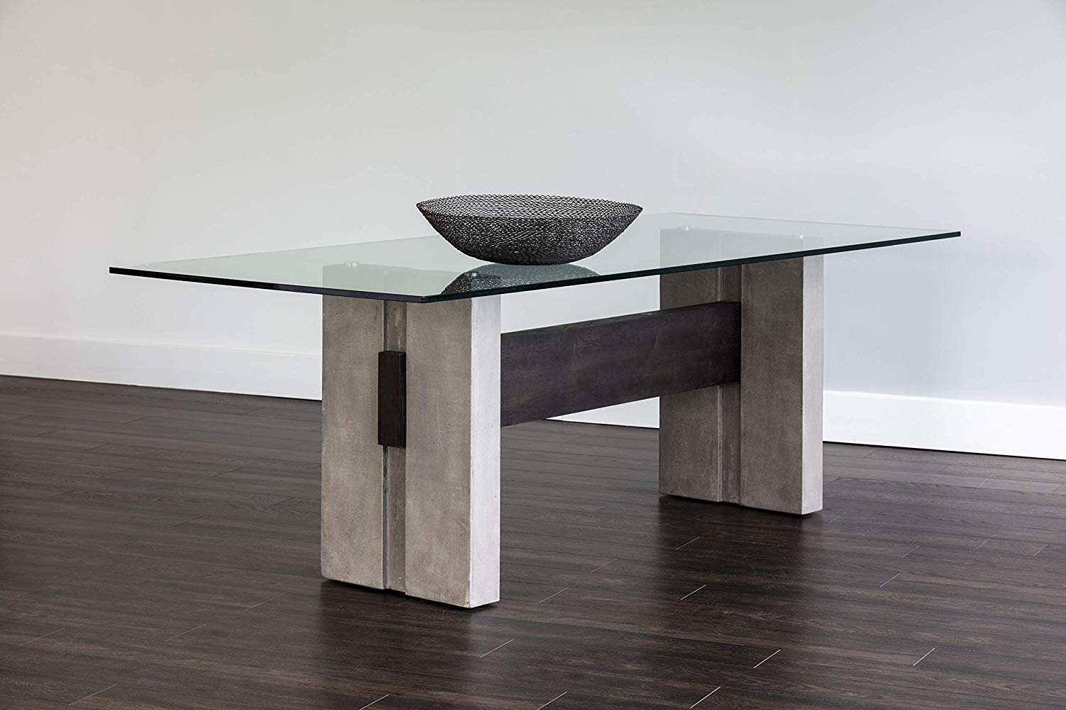 concrete-and-wood-modern-industrial-glass-top-dining-table ...