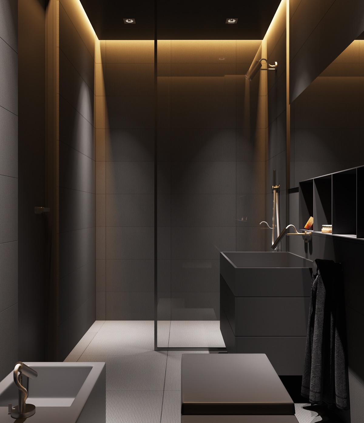 Dark Grey Minimalist Bathroom Awesome Decors
