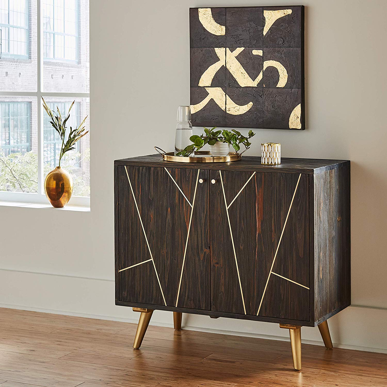 distressed-entryway-table-with-modern-gold-geometric-accents