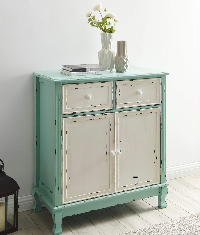 distressed-wood-entryway-table-with-teal-cabinet