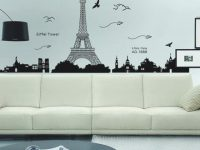 Diy Removable Concise Fashion Wall Stickers – Paris Eiffel throughout Lovely Eiffel Tower Living Room Decor
