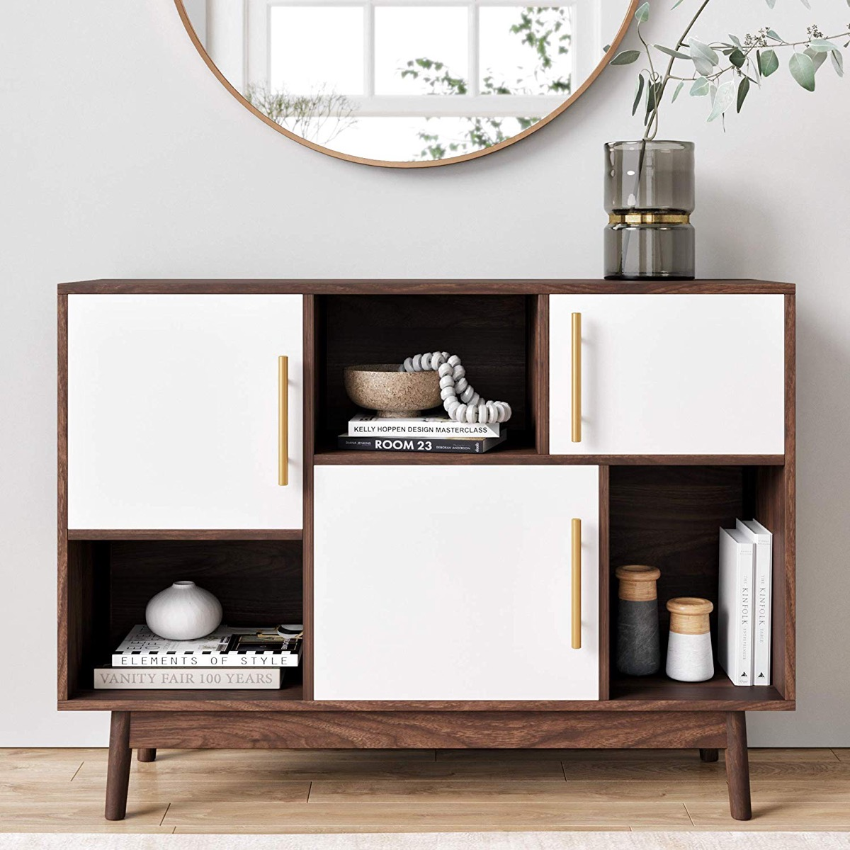 entryway-storage-table-with-cabinets-brass-white-and-wood