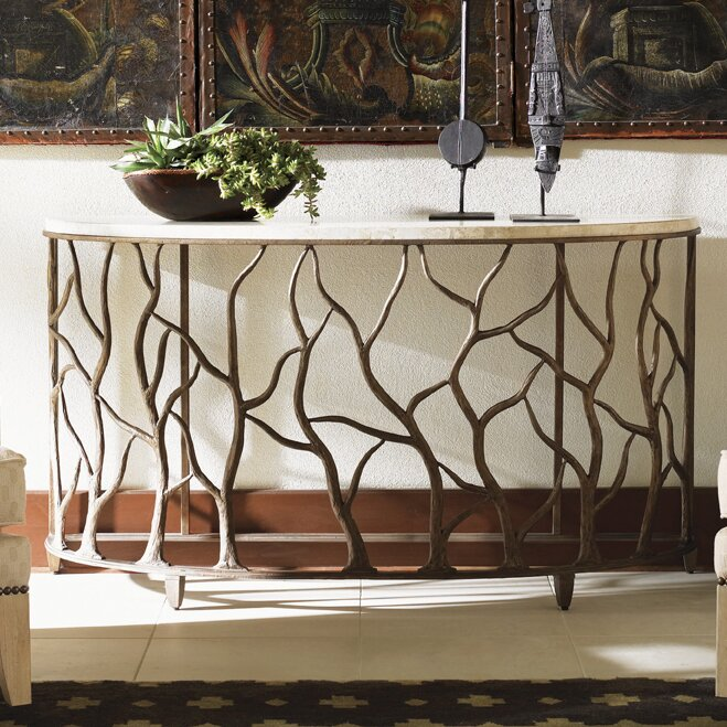 half-moon-entryway-table-branch-design-with-travertine-stone-tabletop