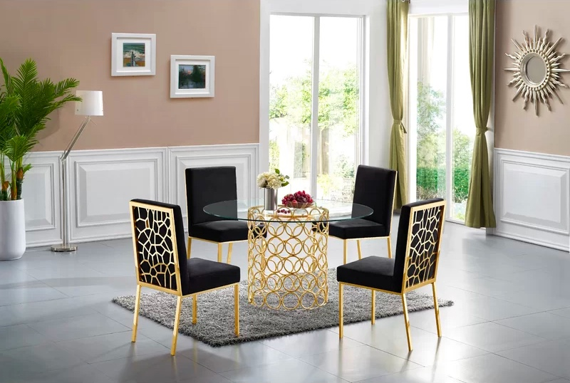 Hollywood Regency Style Round Glass Dining Table And Chairs With Gold Details Awesome Decors