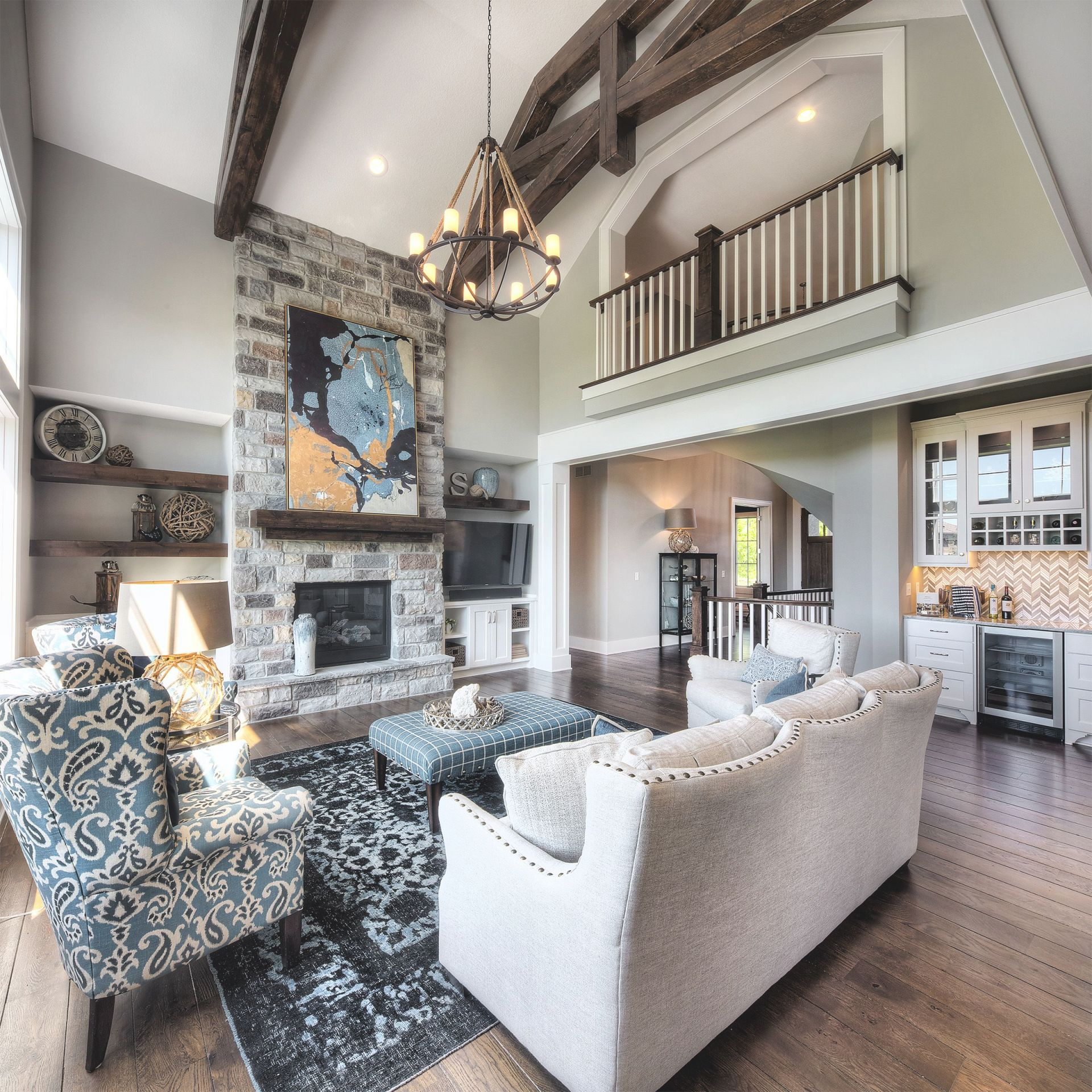Living Room Stone Fireplace Chandelier Two Story Great Pertaining To Awesome Two Story Living Room Decorating Ideas Awesome Decors