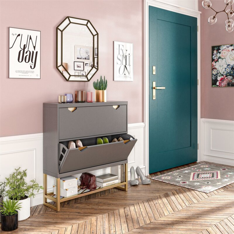 modern-grey-entryway-table-with-shoe-storage