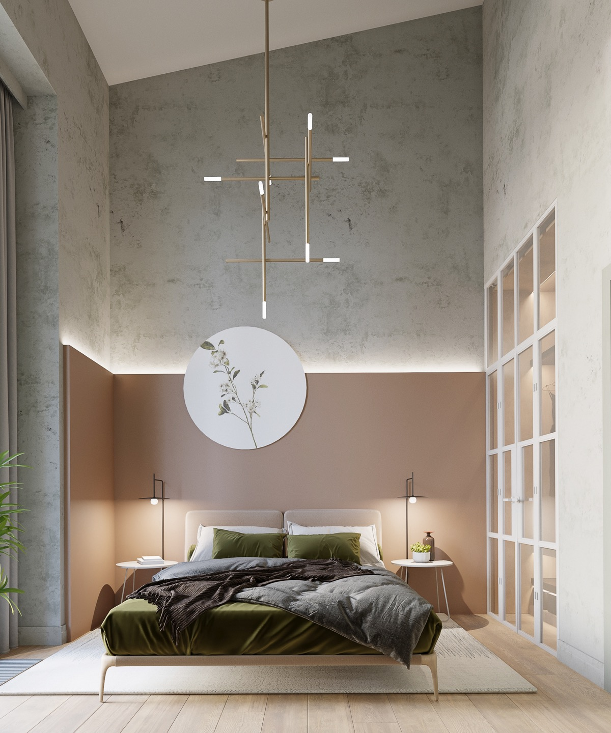 muted-pink-and-green-bedroom-design