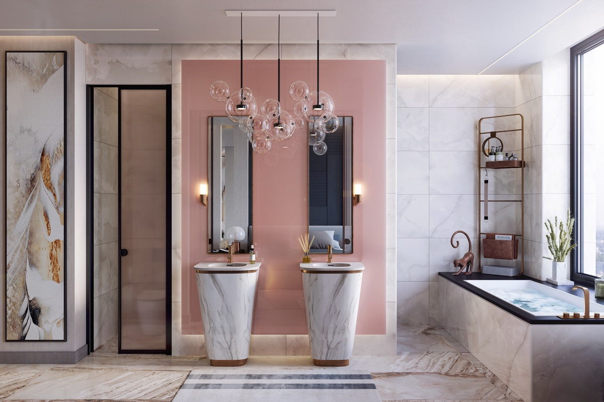 pink-and-gold-bathroom-decor - Awesome Decors