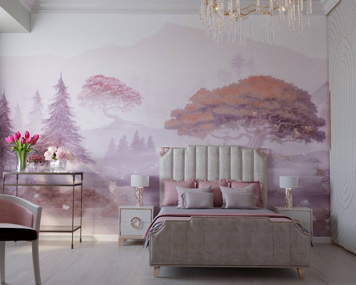 pink-wall-mural-nature-themed-room